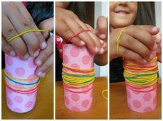 Ligas y tubos de papel higiénico decorados
