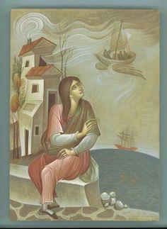???Greece~~~G.Kordis Byzantine Icons, Byzantine Art, Wolves And Women, Greek Art, Art Icon, Orthodox Icons, Sacred Art, Christian Art, Urban Art