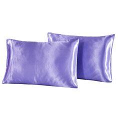 Queen Size Eggplant Aiking Home 2 Pieces of Hidden Zipper Shiny Bridal Satin Pillow Cases