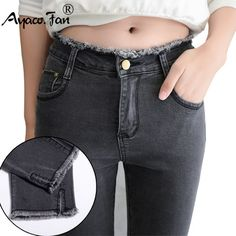 Cheap black jeans, Buy Quality pants denim directly from China ladies denim trousers Suppliers: 2017 Summer Women Ankle-Length Black Jeans Students High Waist Stretch Skinny Female Tassel Pencil Pants Denim Ladies Trousers Sexy Jeans, Ripped Jeans Style, Womens Ripped Jeans, Shoes With Jeans, Black Jeans, Skinny Jeans, Jeans Women, Denim Pants, Blue Denim