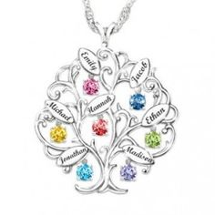 Personalized Tree-Design Necklace With Names And Birthstones Personalized Birthstone Family Tree Pen Birthstone Charms, Birthstone Necklace, Birthstone Pendant, Tattoo Famille, Name Necklace, Pendant Necklace, Grandma Necklace, Necklace With Kids Names, Family Tree Designs
