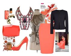 """""""coral drama"""" by mimmiandkinkistatementjewelry ❤ liked on Polyvore featuring Ann Taylor, Lab, Elizabeth and James, Prada and Monique Lhuillier"""