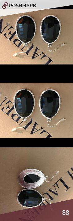 """Black Faceted and Silvertone Earrings Brand new. Measures 1 3/4"""" long x 1"""" wide. Paid $20. Avon Jewelry Earrings"""