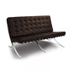 Mies van der Rohe Inspired Barcelona 2 Seater Sofa - Brown