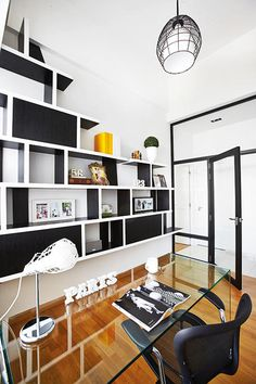 HDB interior - contemporary french (glass dividers for study corner in ...