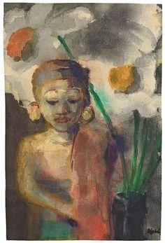 Emil Nolde, Javanische Statuette und zwei Blüten, 1930s