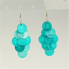 Fashion Sea Shell Earrings, With Iron Chandelier Components And Brass Earring Hooks, DarkTurquoise, 75mm