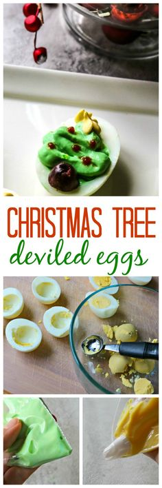 Christmas Tree Deviled Eggs: Transform ordinary deviled eggs into a festive Holiday appetizer with a few simple steps. Christmas Appetizers, Christmas Snacks, Best Christmas Recipes, Christmas Goodies, Christmas Baking, Holiday Recipes, Christmas Stuff, Xmas Food, Holiday Foods