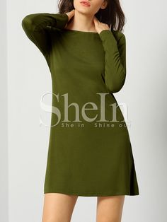 Army Green Long Sleeve Designers Casual Dress 10.99