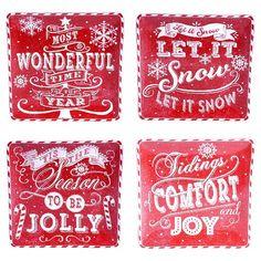 "Certified International Square Chalkboard Christmas Glazed Earthenware Dinner Plates (10.5"") Red - Set of 4 : Target"