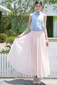Shop Panel Pink Pleated Maxi Dress at ROMWE, discover more fashion styles online. Pleated Maxi, Latest Street Fashion, Pretty Pastel, Summer Essentials, Dress P, Romwe, Pastels, Tulle, Cute Outfits