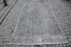 Oushak Gray Rug, Turkish Overdyed Carpet, Vintage Gray Handmade Rug,  (273 cm x 158 cm) 8,9 feet x 5,1 feet model: 417 by OushakRugs on Etsy