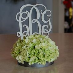 What a great idea for wedding showers!  Put the couples initials in the flower arrangements.  Great for the wedding too,