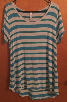 Lularoe Classic T Shirt Large Gray Teal Blue Stripe SS  | eBay