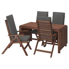 Beauty that lasts, from sustainably sourced acacia. This ÄPPLARÖ dining set invites guests to gather for a meal. Extend the table for extra guests and relax in the reclining chair with extra comfy chair cushions. Recycled Furniture, Table Furniture, Outdoor Furniture Sets, Ikea Table, Table And Chairs, Wood Supply, Table Extensible, Drop Leaf Table, Table Sizes