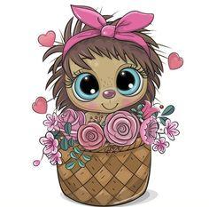 Cute Animals Images, Cute Cartoon Animals, Cute Wallpaper Backgrounds, Cute Wallpapers, Happy Birthday Clip Art, Cute Cartoon Drawings, Cute Hedgehog, Typography Prints, Nursery Prints