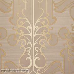 Papel Pintado Paris RS71406 con rayas horizontales poco marcadas en color marrón y dibujo dorado.