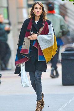 Alexa Chung in a Burberry winter cape