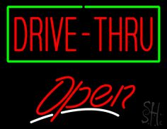 Drive-Thru Open Neon Sign 24 Tall x 31 Wide x 3 Deep, is 100% Handcrafted with Real Glass Tube Neon Sign. !!! Made in USA !!!  Colors on the sign are Green, White and Red. Drive-Thru Open Neon Sign is high impact, eye catching, real glass tube neon sign. This characteristic glow can attract customers like nothing else, virtually burning your identity into the minds of potential and future customers. Drive-Thru Open Neon Sign can be left on 24 hours a day, seven days a week, 365 days a year