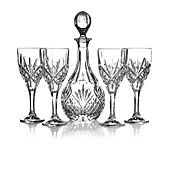 Godinger Stemware, Wine Glasses and Decanter, 5 Piece Set
