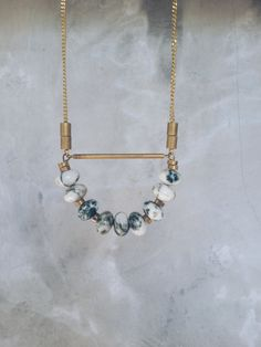 Arc  vintage brass connectors and speckle jade beads by ALittleDot