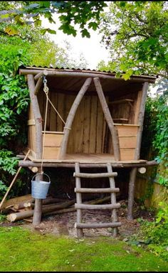 Tree house designs Tree house Tree house kids Backyard for kids Backyard playhouse Mud kitchen Mr Treehouse Design So much fun to be had here W Backyard Playhouse, Backyard Playground, Backyard For Kids, Small Yard Kids, Backyard Fort, Outdoor Projects, Garden Projects, Wood Projects, Garden Ideas