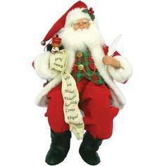 Santa's Workshop Sitting Santa Checking List Figurine