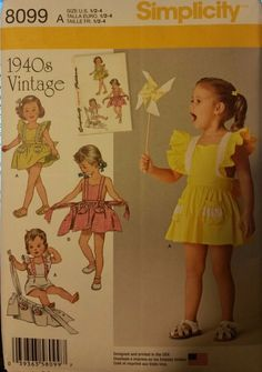 Simplicity Pattern 8099 sizes 1/2-4 Toddlers' Romper and Button-On Skirt.