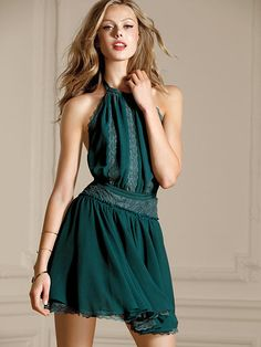 Fit-and-Flare Dress Green Sleeveless short