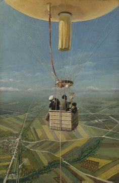 french school 19th century figures in a hot air balloon oil on canvas