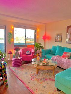 Indie Room Decor, Cute Room Decor, Indie Living Room, Funky Living Rooms, Room Ideas Bedroom, Bedroom Decor, Pastel Room, Pretty Room, Aesthetic Room Decor