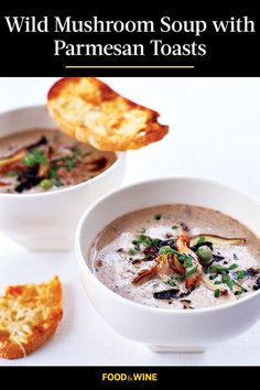 This quick and easy 30-minute mushroom soup recipe incorporates sliced bread, parmesan cheese, paprika, chives and mushrooms to create the ultimate hearty and creamy fall recipe. Whether you're eating this soup recipe as a quick and easy 30-minute weeknight dinner or a hearty fall lunch, it's a great choice for a fall recipe.#fallrecipes #falldinners #souprecipes #stewrecipes #comfortfood Wild Mushroom Soup, Mushroom Soup Recipes, Best Soup Recipes, Wild Mushrooms, Fall Recipes, Wine Recipes, Stuffed Mushrooms, Parmesan, Toast