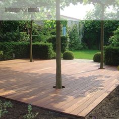 Deck terrace with recesses for trees Source by VicasTuin