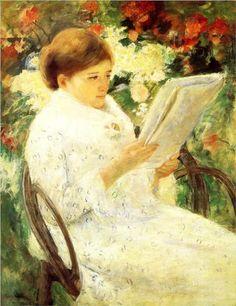 Woman Reading in a Garden - Mary Cassatt, 1880