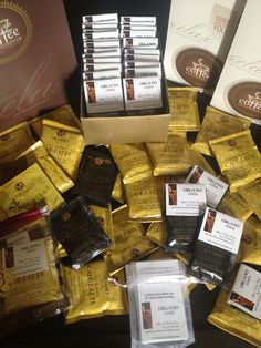 Organo gold coffee sachets for party favors.