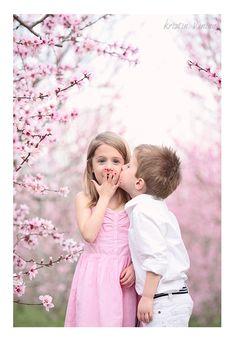 Charlotte NC Wedding Photographer, Kristin Vining Photography, twins, boy and girl, kiss, pink blooms