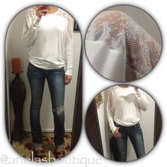Ivory long sleeve top w/ lace detail  S|M|L available  $16.50