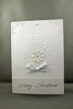 https://flic.kr/p/7JRzmM | White Christmas Card | Cuttlebug lace Christmas Tree embossing folder ; Vintage Corners CB die; Swiss Dot CB embossing folder.