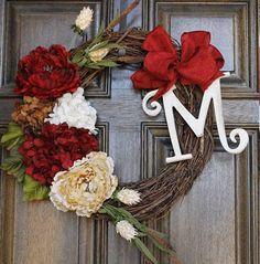 Spring wreath, Valentine's day  wreath, Hydrangea monogram wreath, Year round wreath. $55.00, via Etsy.