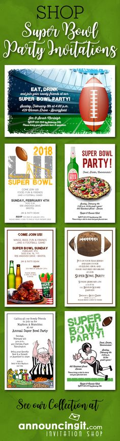 Come game day, grab your team jersey, cook up your favorite football food, ice down the drinks and party! Shop Super Bowl Party Invitations at Announcingit.com