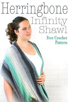 The Herringbone Inifintiy Shawl is a great crochet shawl to carry with you. This free crochet pattern is great for beginners that are ready to try a new stitch. I have a herringbone crochet stitch photo tutorial. The texture in this shawl is very unique and the shawl can be worn like a thick infinity scarf. #crochet #crochetpattern #forbeginners #easy #shawl #crochetshawl #infinityscarf