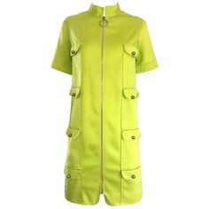Chic 1960s I MAGNIN Mod Lime Green Zipper Vintage 60s Cargo Pocket Shift Dress | From a collection of rare vintage shift-dresses at https://www.1stdibs.com/fashion/clothing/day-dresses/shift-dresses/