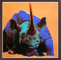 Print Black Rhino from Endangered Species portfolio by Andy Warhol. Andy Warhol prints for sale through Robin Rile Fine Art.