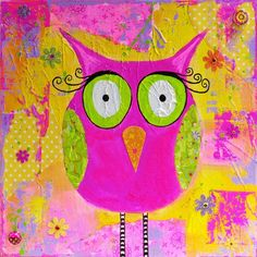 'Whimsical Pink Owl' by Michele of PolychromesPalace