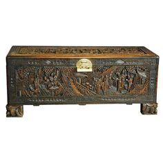 Large Superbly Carved Chinese Camphor Wood Chest | From a unique collection of antique and modern furniture at https://www.1stdibs.com/furniture/asian-art-furniture/furniture/