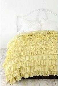 Waterfall Ruffle bedding in yellow