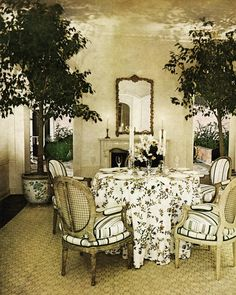 The Blairs' Washington DC dining room, decorated by Billy Baldwin. Photo by Horst. Vogue, March 1972.