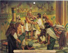 JOSÉ (hijo del patriarca Jacob) recibe a sus hermanos. Génesis 42:9-38; 43:1-34; 44:1-34.