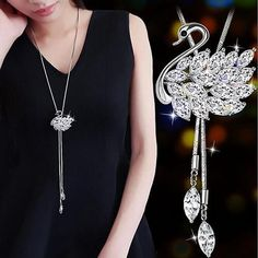Zircon Long Necklace Tassel Crystal Necklaces & Pendants – Moonla Accessories