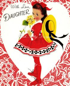 With Love Daughter Valentines Digital Greeting by poshtottydesignz